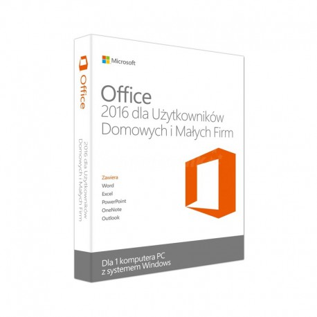 1 x MS Office 2016 dla Małych Firm i Użytkowników Domowych BOX PL 32/64 bit - 2019 cena